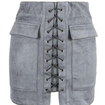 GREY FAUX SUEDE LACE UP FRONT PENCI..