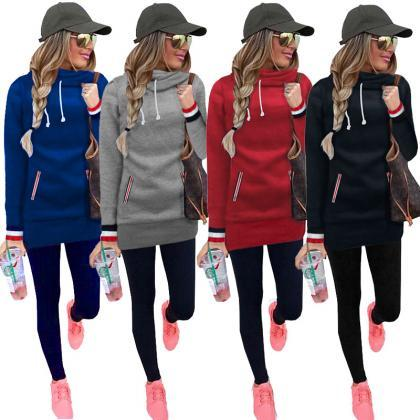 Women Solid Color Long Sleeve Sweat..