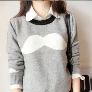 Stylish mustache long-sleeved sweat..