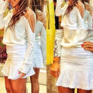Fashion long-sleeved lace shirt SF1..