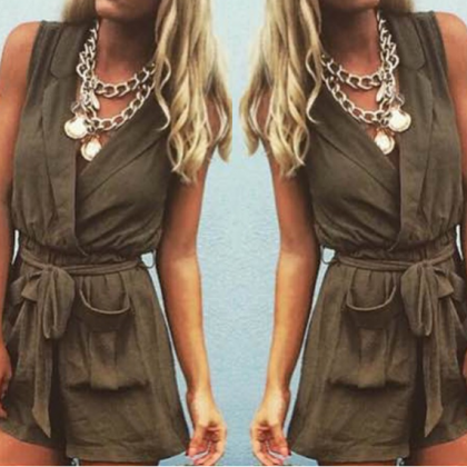 Sexy sleeveless wrap romper SF82608JL