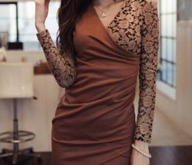 Sexy V-neck lace dress DG102605JL
