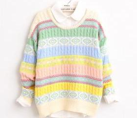 Loose round neck long-sleeved jacquard sweater SF91005JL
