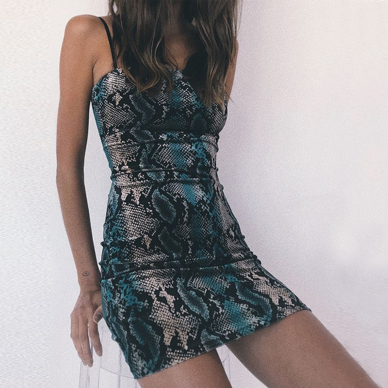 Women Fashion Snake Print Bodycon Show Thin Sleeveless Strap Mini Dress