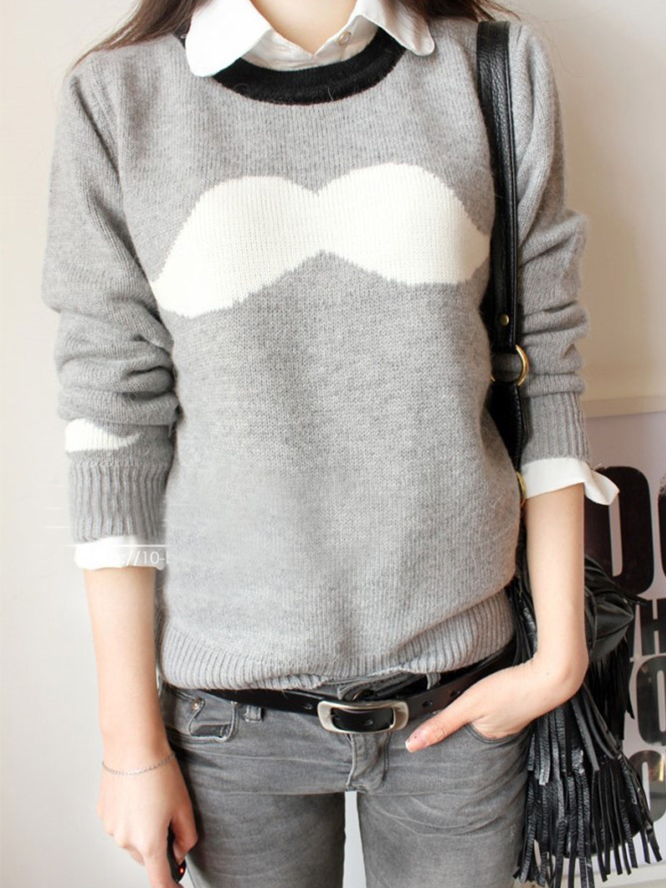 Stylish mustache long-sleeved sweater #YS091204TG
