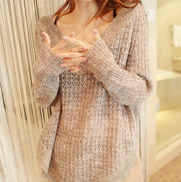Fashion V-Neck Long-Sleeved Loose Knit Sweater