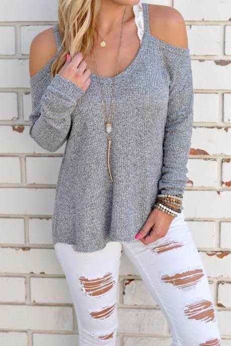 Grey Off the Shoulder Knitted Long Sleeve Sweater
