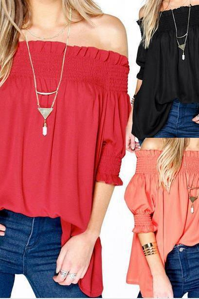 Off-The-Shoulder Chiffon Top Blouse with Mid-Length Sleeves