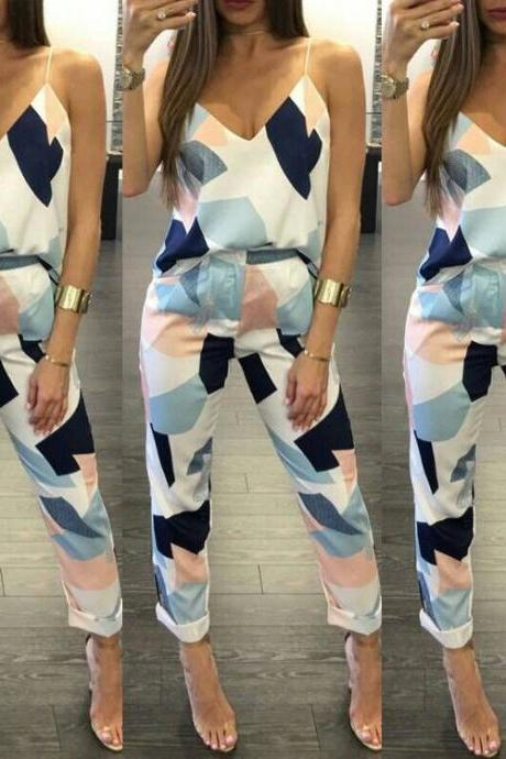 Fashion V-Neck Sling Printed Two-Piece Pants