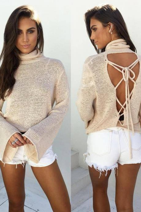 High-necked long-sleeved knitting Sweater