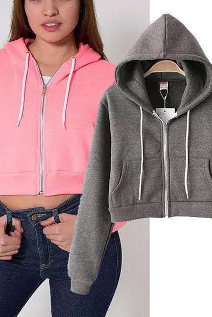 Hooded Cropped Pullover Featuring Front Zipper and Pocket