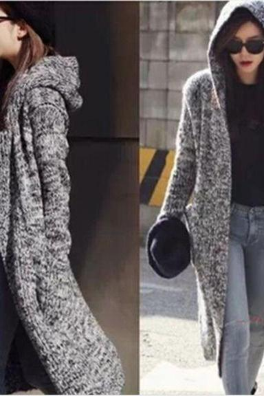 New Winter Dark Grey Women'S Long Sweater Cardigan Coat Hooded Female Loose Coat