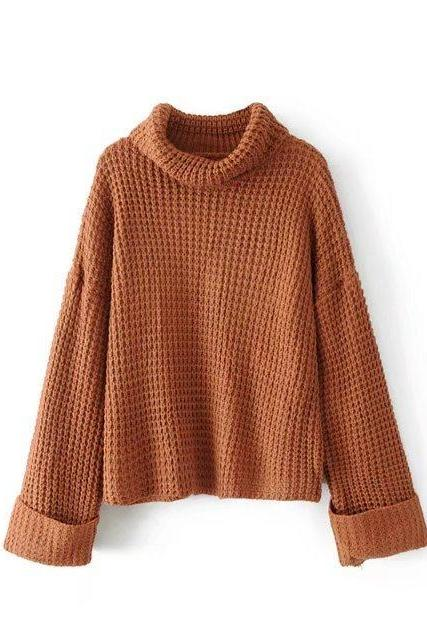 Brown Knitted Long Foldable Sleeves Turtleneck Sweater