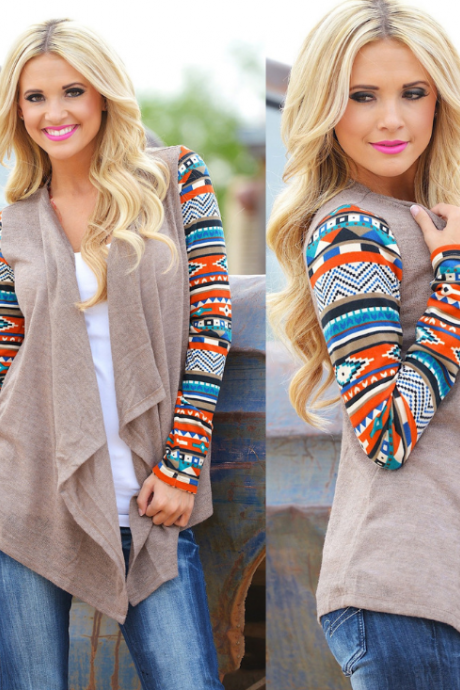 Irregular Printed Long-Sleeved Cardigan Shirt