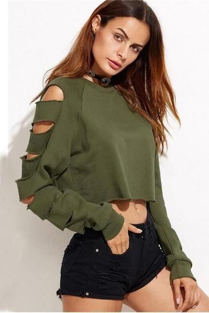 Army Green Crew Neck Long Cuffed Sleeves Cropped Pullover Featuring Cutout Deets
