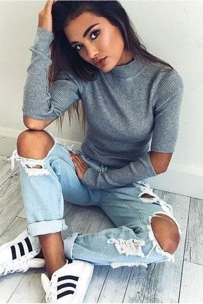 Grey Knitted Mock Neck Long Sleeves Sweater Featuring Cutout Detailing