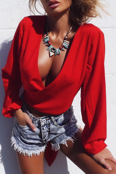 Women'S Long-Sleeved Chiffon Halter Tops
