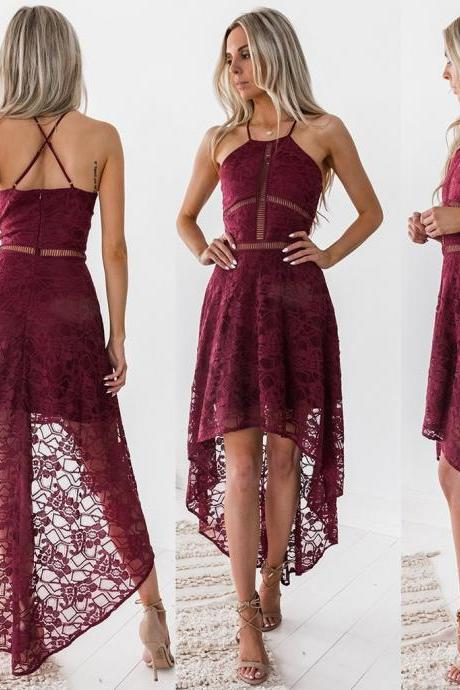 Solid Color Sling Lace Irregular Dress