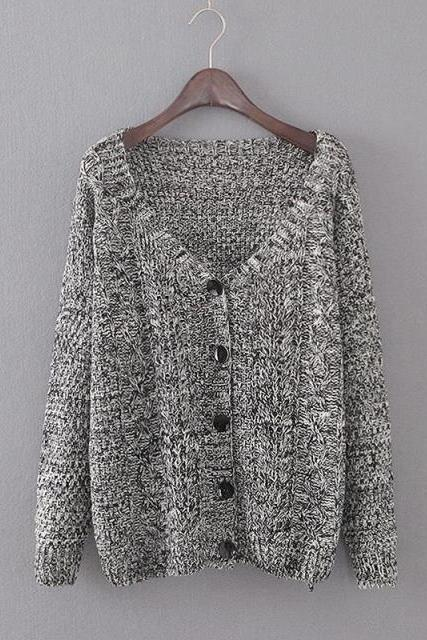 Loose long-sleeved knit cardigan sweater jacket DF11107JH