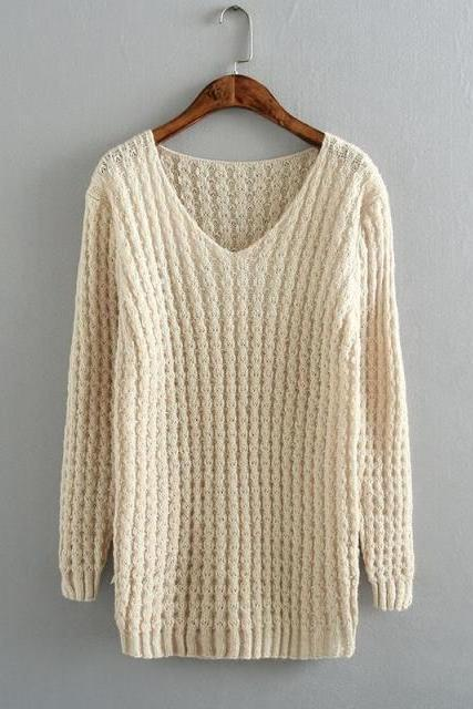 Fashion V-neck long-sleeved knit sweater DF11108JL