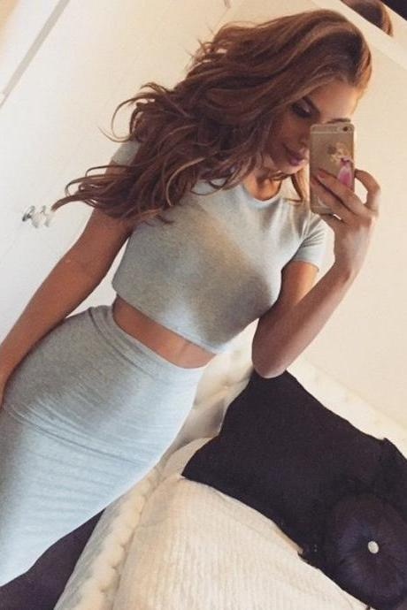 TWO PIECE SUIT GREY DRESS