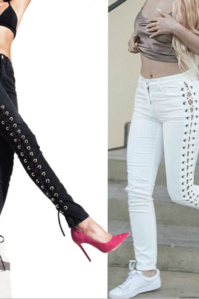 Lace-Up Side Skinny Jeans