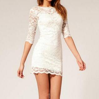 Slim package hip lace dress FD102309GF