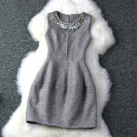 Round neck sleeveless vest dress SF110112JL