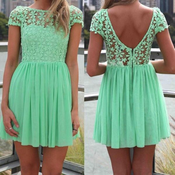 Mint Green Women Summer Bandage Bodycon Lace Evening Sexy Party Cocktail MINI Dress (005)