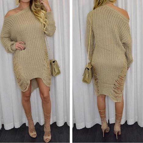 IRREGULAR LONG-SLEEVED KNIT DRESS